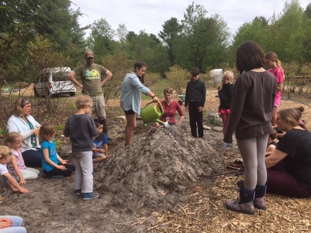 Leelanau Montessori planting hugel kulture
